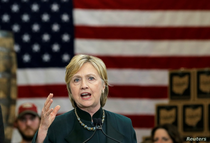U.S. Democratic presidential candidate Hillary Clinton speaks at a campaign event in Athens, Ohio, United States, May 3, 2016.