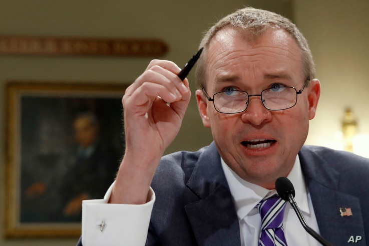 Budget Director Mick Mulvaney testifies on Capitol Hill in Washington, May 24, 2017, before the House Budget Committee hearing on President Donald Trump's fiscal 2018 federal budget.