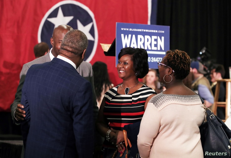 Supporters of Democratic 2020 U.S. presidential candidate and U.S. Senator Elizabeth Warren gather to hear her speak in Memphis, Tennessee, March 17, 2019.