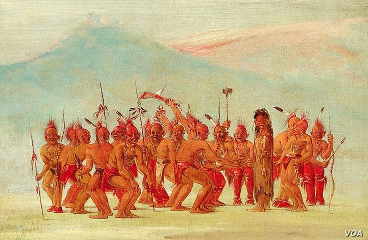 George Catlin (1796-1872), Dance to the Berdache. Drawn while on the Great Plains, among the Sac and Fox Indians, the sketch depicts a ceremonial dance to celebrate the two-spirit person.
