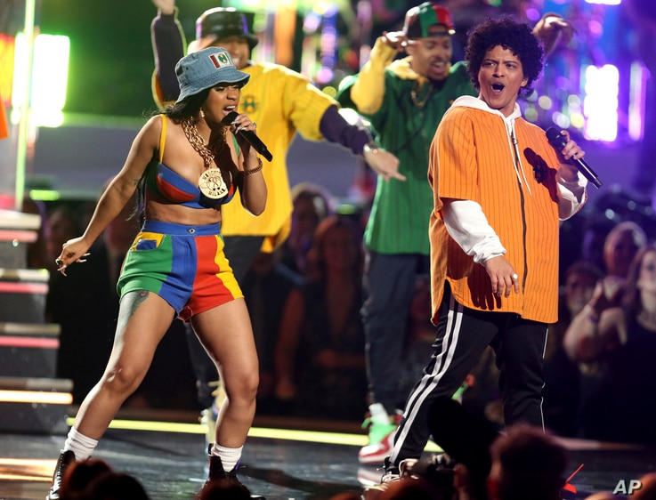 "Bruno Mars and Cardi B perform ""Finesse"" at the 60th annual Grammy Awards at Madison Square Garden on Jan. 28, 2018, in New York."