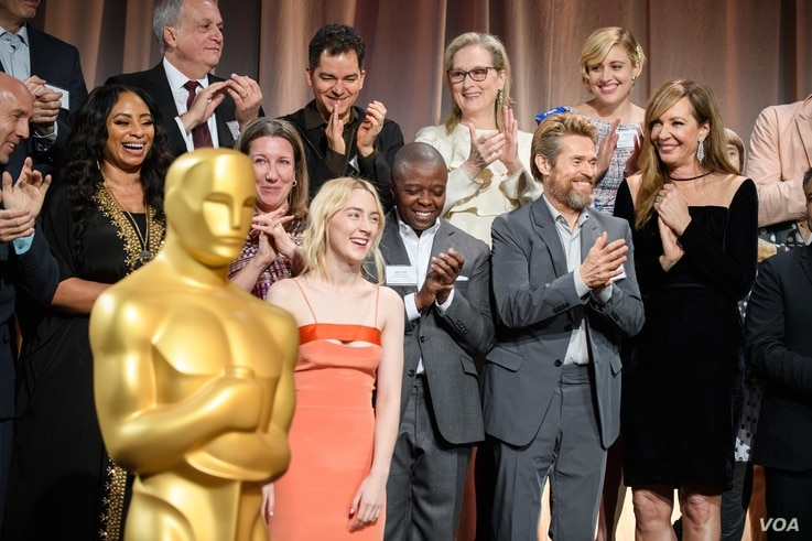 Oscar nominees gather for class photo at Oscar nominees lunch in Los Angeles, California.