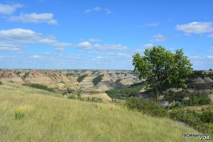 A panoramic view taken in Theodore Roosevelt National Park in North Dakota