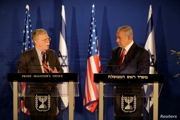 FILE - U.S. National Security Adviser John Bolton meets Israeli Prime Minister Benjamin Netanyahu in Jerusalem, Jan. 6, 2019.