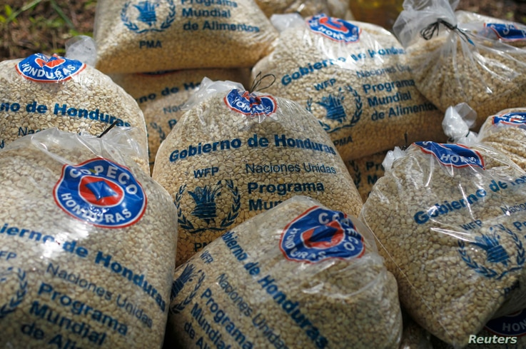 FILE - Bags of provisions, donated by the United Nations World Food Programme (WFP) food reserves, are seen during a distribution of food aid to families affected by the drought in the village of Orocuina, Aug. 28, 2014.