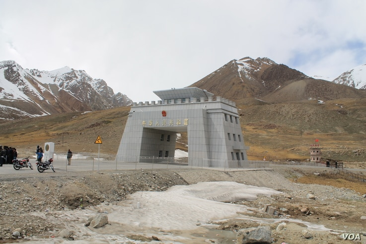 Khunjerab border crossing and the first Chinese security post seen on the extreme right.