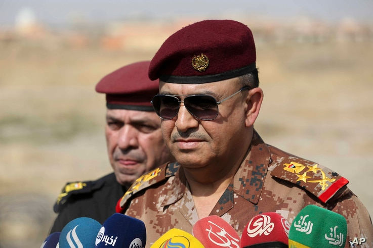 The Commander of the Joint Military Operation Commander, Army Lt. Gen. Talib Shaghati, called on Iraqis fighting for the Islamic State group in Mosul to surrender, Oct. 19, 2016.