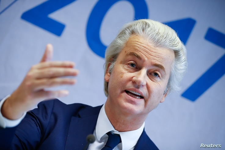 Netherlands' Party for Freedom leader Geert Wilders attends a news conference after a European far-right leaders meeting in Koblenz, Germany, Jan. 21, 2017.