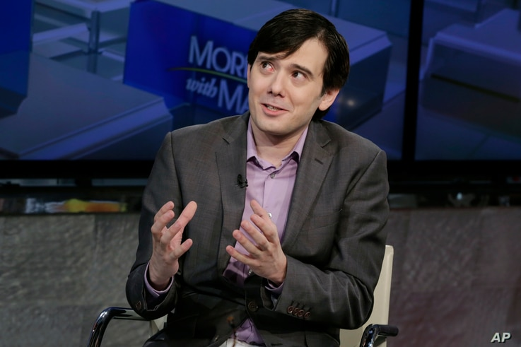 FILE - Former pharmaceutical CEO Martin Shkreli speaks during an interview in New York, Aug. 15, 2017. On Sept. 6, 2017. Shkreli has put the only known copy of a Wu-Tang Clan album he bought for $2 million in 2015 up for sale on eBay.