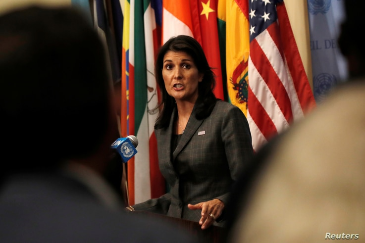 U.S. Ambassador to the United Nations Nikki Haley speaks to members of the media at U.N. headquarters in New York, Sept. 10, 2018.