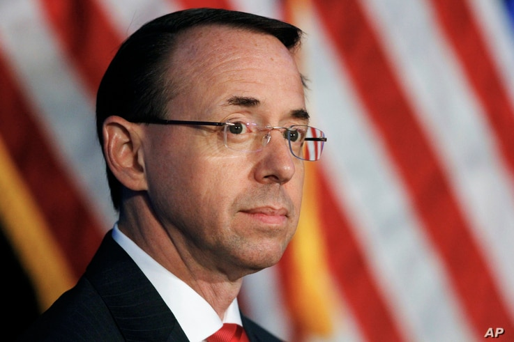 Deputy Attorney General Rod Rosenstein listens during the Justice Department's National Summit on Crime Reduction and Public Safety, in Bethesda, Md, June 20, 2017.
