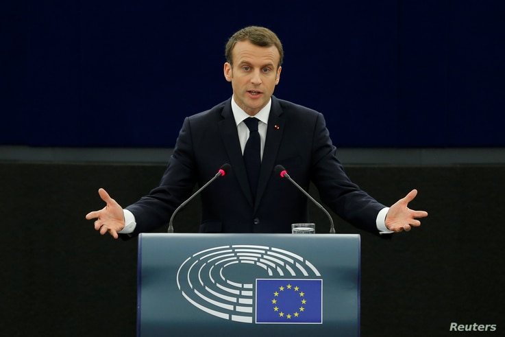 French President Emmanuel Macron delivers a speech before a debate on the Future of Europe at the European Parliament in Strasbourg, April 17, 2018.