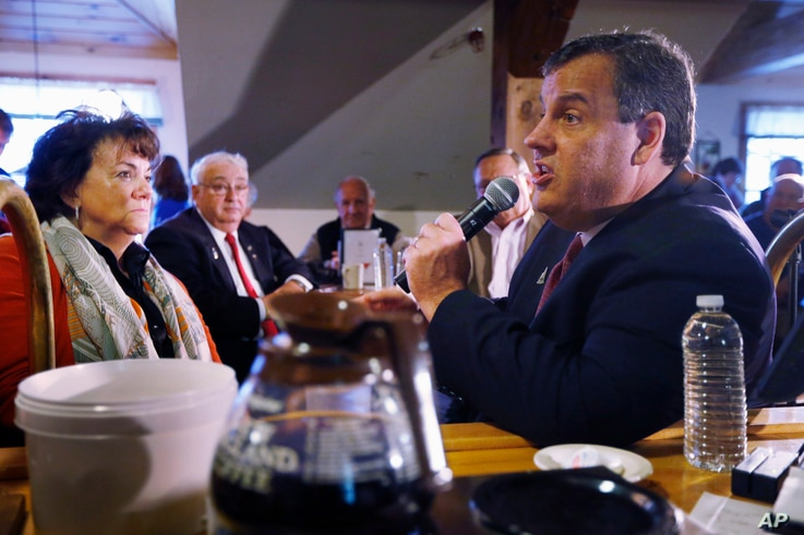 New Jersey Gov. Chris Christie, a Republican presidential candidate, speaks at a town hall-style campaign stop at the Strafford Farms Restaurant in Dover, N.H., Feb. 5, 2016.