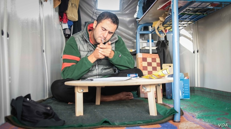Mohammed al Jassem, from Damascus in Syria, arrived in Chios eight months ago. He still doesn't know when and if he will be able to move on from the island. (J. Owens for VOA)