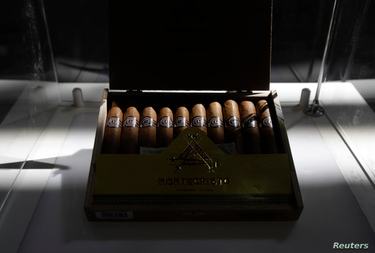 A Montecristo Cuban cigar box is displayed during the XVII Habanos Festival in Havana, Feb. 23, 2015.