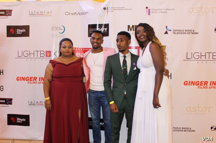 Some of the Cast members of 'Watu wote' at the premier of the Film, Jan. 23, 2108. (R. Ombuor/VOA).