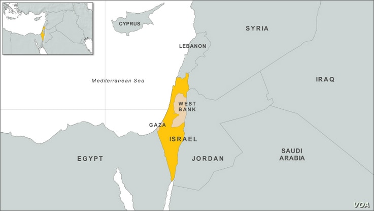 Israel, Gaza, West Bank map
