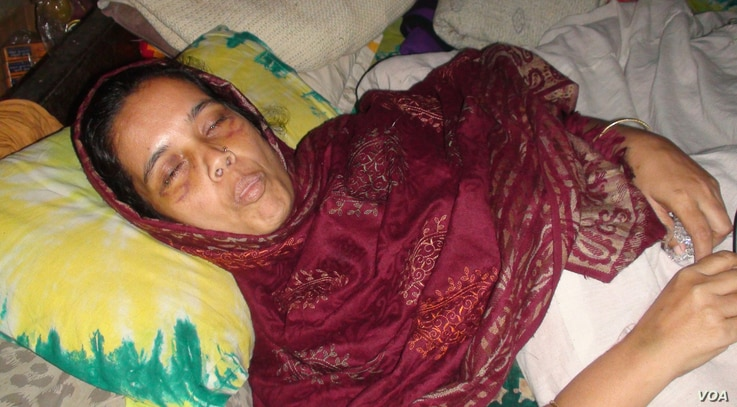 Opposition BNP activist Marina Begum is lying at her home at Sirajganj, Bangladesh, blinded by pellets.