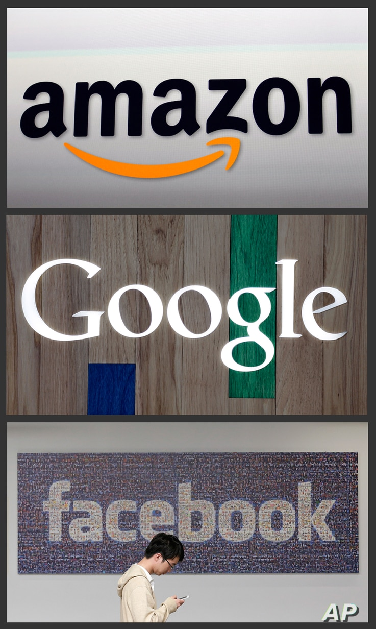 This photo combo of images shows the Amazon and Google logos. Digital civil rights groups are trying to persuade the two internet giants to allow encrypted messaging apps to continue to use a digital disguise.