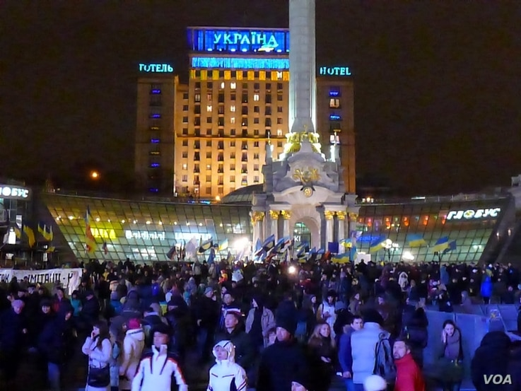 Protestors also gathered in Independence Square, ground zero of the 2004 Orange Revolution. (Henry Ridgwell/for VOA)