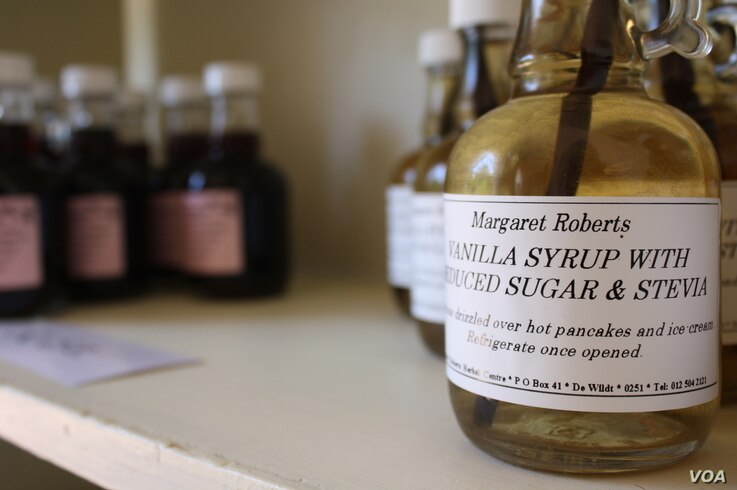 Roberts also makes products like this syrup, from naturally grown vanilla an the sweet leaves of the Stevia plant