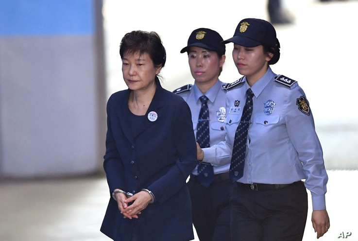 South Korean ousted leader Park Geun-hye arrives for her trial at the Seoul Central District Court in Seoul, May 25, 2017.