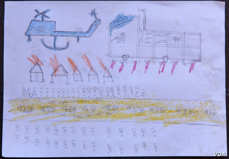 A drawing by a Rohingya boy, Abdullah, reveals the horrific experiences he endured while fleeing from Myanmar to Bangladesh, at a child-friendly space at the Balukhali makeshift refugee camp in Cox's Bazar district in Bangladesh, Oct. 2, 2017.