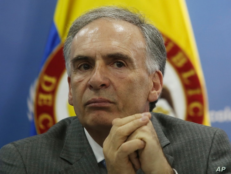 FILE - Jean Arnault, of France, the head of the U.N. political mission in Colombia, attends a press conference in Bogota, Colombia, Oct. 10, 2016.