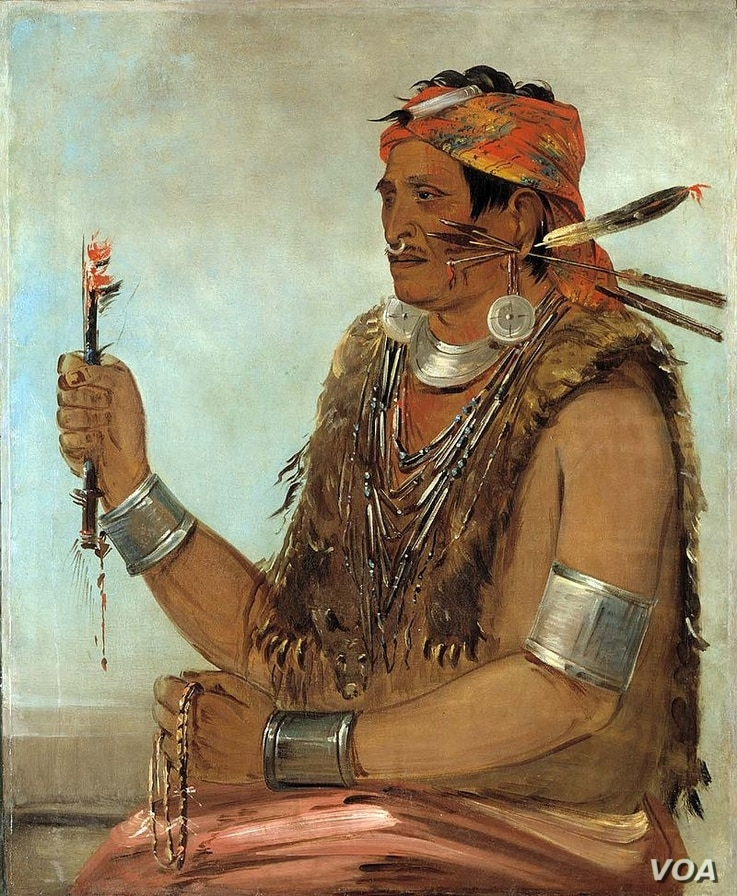 """An 1830 portrait by artist George Catlin of Tenskwatawa, the 19th Century Shawnee """"Prophet"""" and younger brother of Tecumseh."""