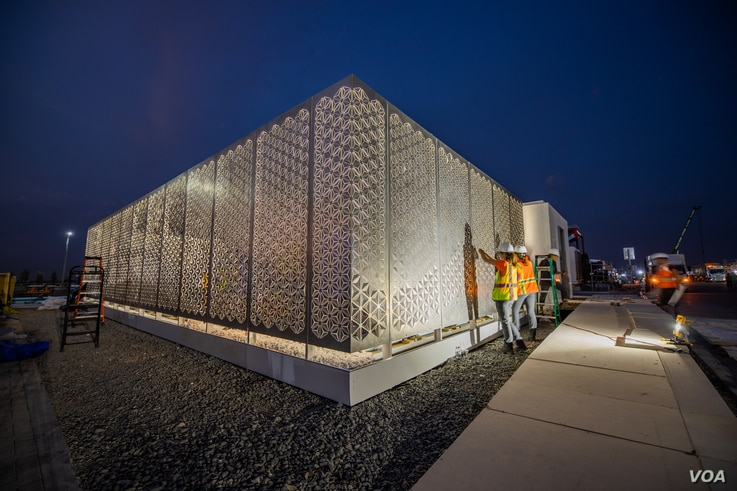 The exterior of the house built by a team of Virginia Tech University faculty and students for the Solar Decathlon Middle East competition.