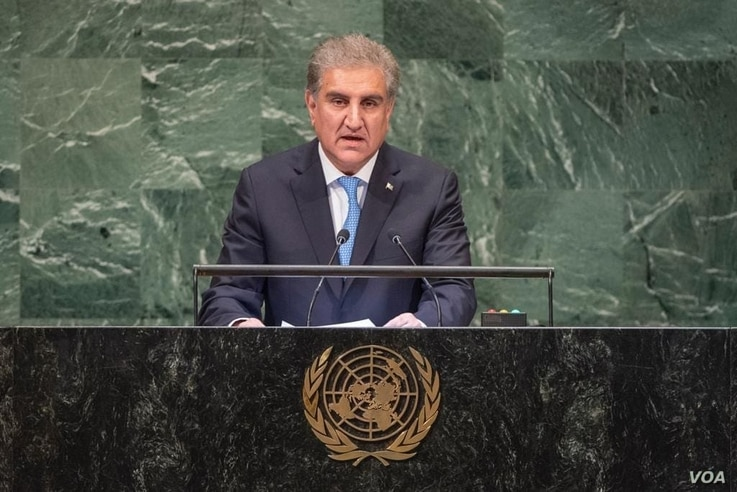 Pakistani Foreign Minister Shah Mehmood Qureshi addressing the 73rd UN General Assembly in New York on Saturday 29, 2018