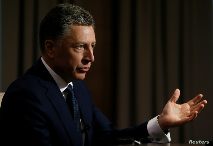 FILE - Kurt Volker, United States Special Representative for Ukraine Negotiations, speaks during an interview with Reuters in Kyiv, Ukraine, Oct. 28, 2017.