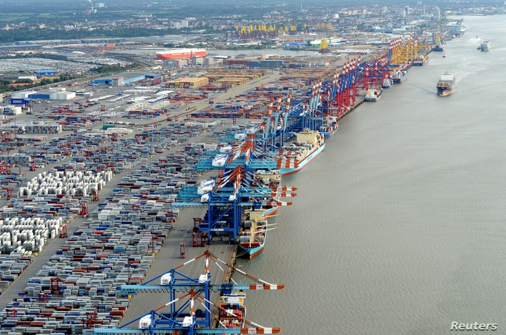 FILE - Shipping terminals and containers are pictured in the harbour of the northern German of Bremerhaven on the banks of the river Elbe, Oct. 8, 2012.