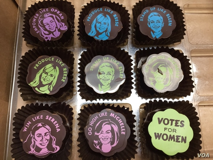 Sarah Dwyer's popular Phenomenal Women line of chocolates was inspired by women she admires. (VOA Photo/J.Taboh)