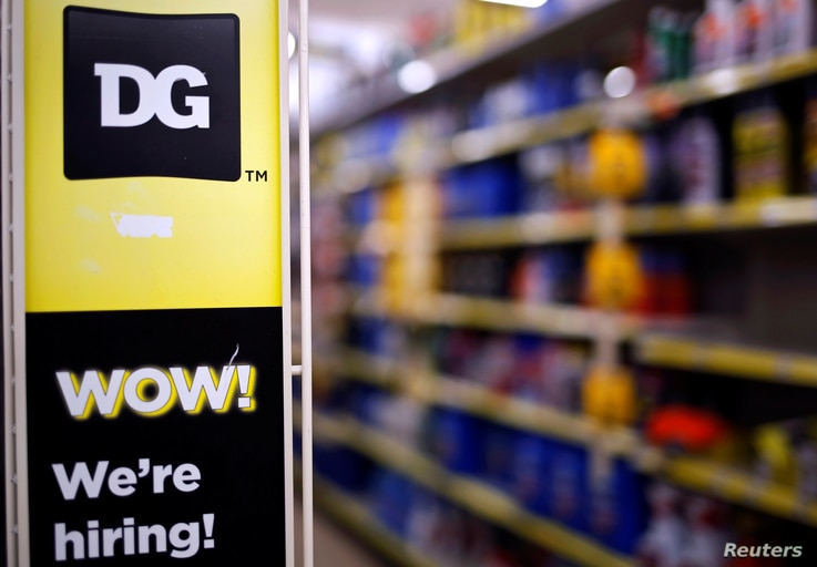 A sign is seen inside a Dollar General store in Chicago, Illinois, U.S. May 23, 2016.
