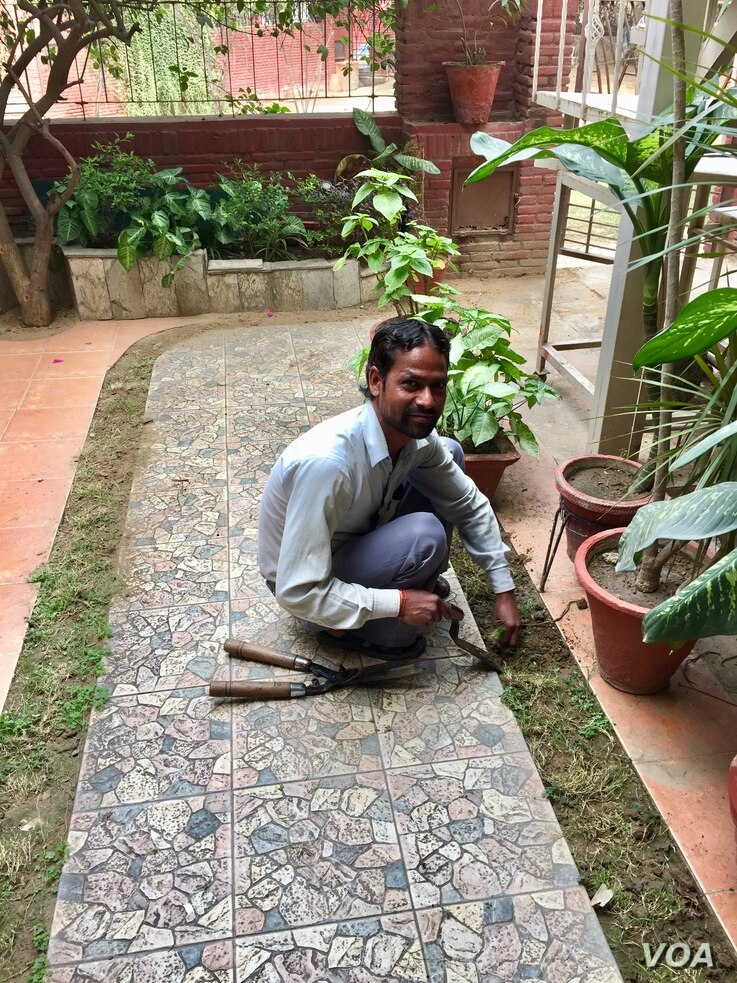 Gardener Daya Ram says his eyes sting when he comes to work every morning but has  no option to working outdoors although doctors advised people to stay in as far as possible. (A. Pasricha/VOA)