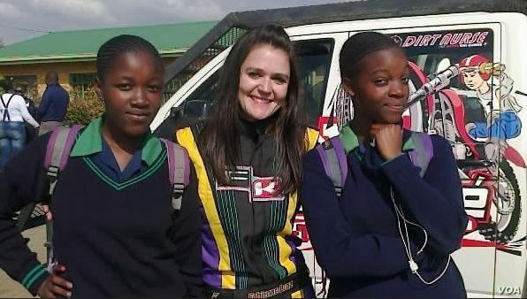 Fabienne Lanz also trains young drivers and visits schools to share her journey in motorsport. (Photo courtesy fabienneracing.com)