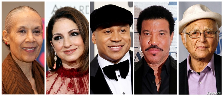 FILE - A combination photo showing the 2017 Kennedy Center Honorees, from left, actress, dancer and choreographer Carmen de Lavallade, singer-songwriter and actress Gloria Estefan, hip-hop artist LL COOL J, musician and record producer Lionel Richie ...