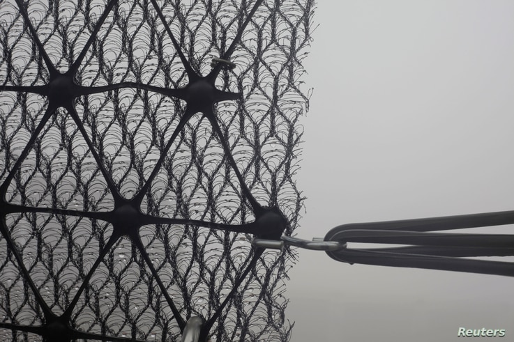 Fog collection nets on Mount Boutmezguida, Morocco, Feb. 21, 2018.