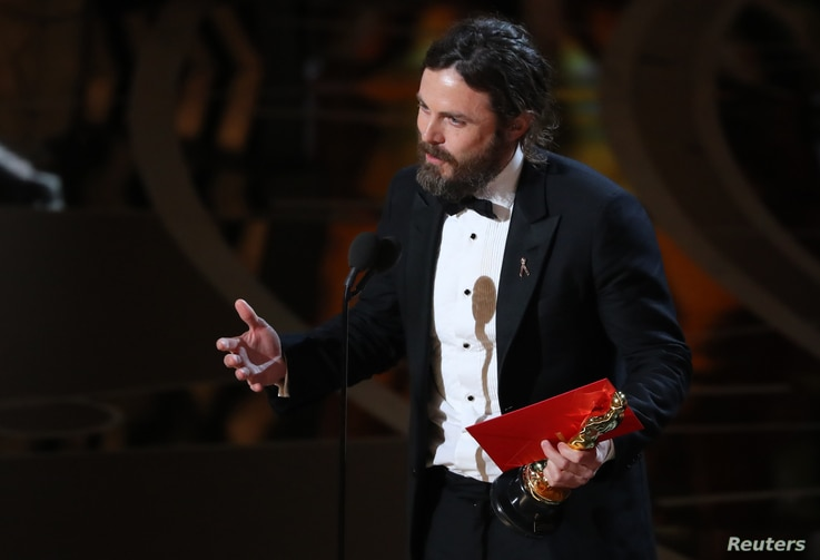 """Casey Affleck speaks as he accepts the Oscar for Best Actor for """"Manchester by the Sea."""""""
