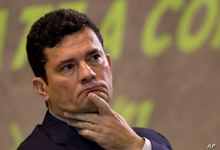 Former Judge Sergio Moro participates in an anti-corruption conference in Rio de Janeiro, Brazil,  Nov. 23, 2018.