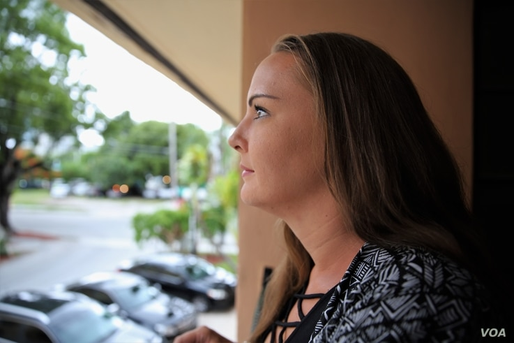 Alison Norland outside her room at The Village South treatment facility in Miami.