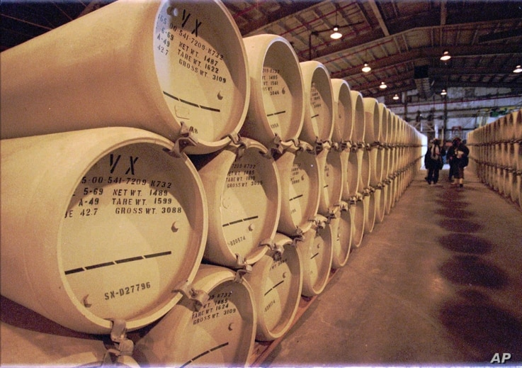 The extremely lethal nerve agent VX sits stored in 1,269 steel containers at the Newport Chemical Depot in western Indiana Tuesday, Nov. 18, 1997. Stored since 1969, the military is working on a plan to destroy the agent listed as the deadliest subst...