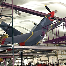 Model of World War II fighter on Tuskegee Airmen float, entry of West Covina, California, 30 Dec 2009