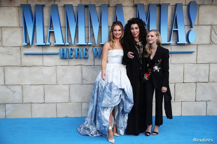 Cher, Lilly James and Amanda Seyfried attend the world premiere of Mamma Mia! Here We Go Again at the Apollo in Hammersmith, London, Britain, July 16, 2018.