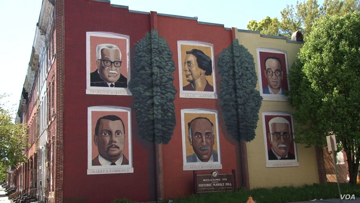 A West Baltimore mural shows creativity and community pride. It honors six notable Baltimore natives (clockwise, from upper left): Thurgood Marshall, the first black Supreme Court justice; Lillie Jackson, a civil rights organizer; Teacle Lansey, a fo...