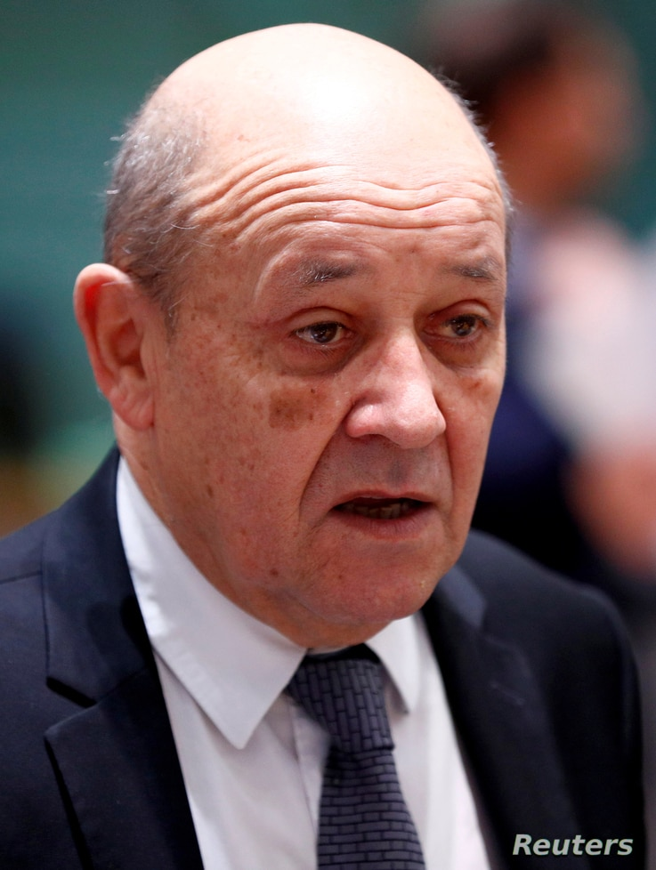 FILE - French Foreign Minister Jean-Yves Le Drian attends a European Union foreign ministers meeting in Brussels, Belgium, Jan. 21, 2019.