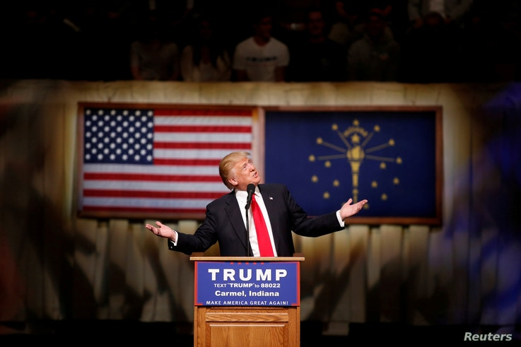 U.S. Republican presidential candidate Donald Trump speaks at a campaign event at The Palladium at the Center for Performing Arts in Carmel, Indiana, May 2, 2016.