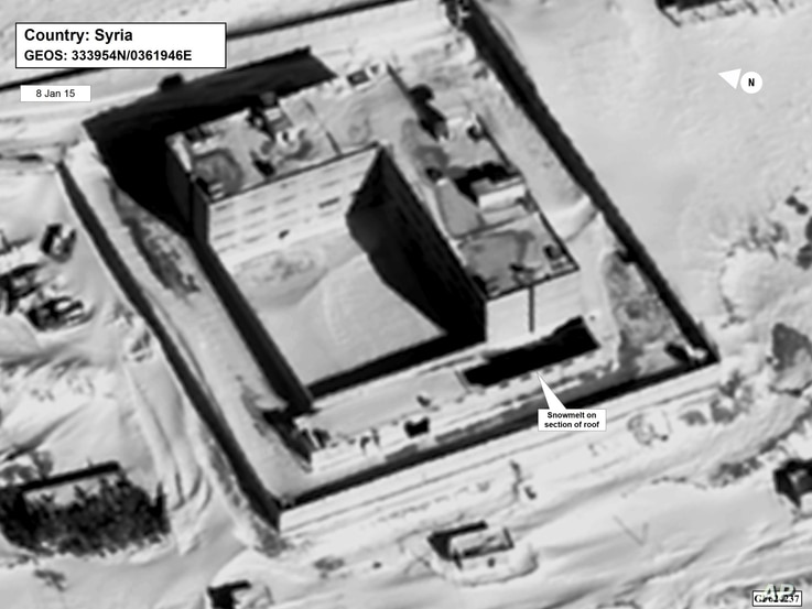 This image provided by the State Department and DigitalGlobe, taken Jan. 15, 2015, a satellite image of what the State Department described as a building in a prison complex in Syria that was modified to support a crematorium.