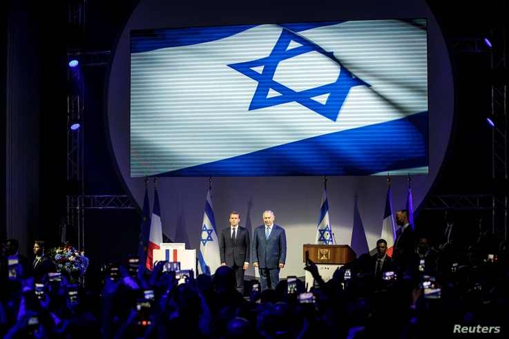 French President Emmanuel Macron and Israeli Prime Minister Benjamin Netanyahu attend the opening ceremony of the France-Israel season event in Paris, France, June 5, 2018.